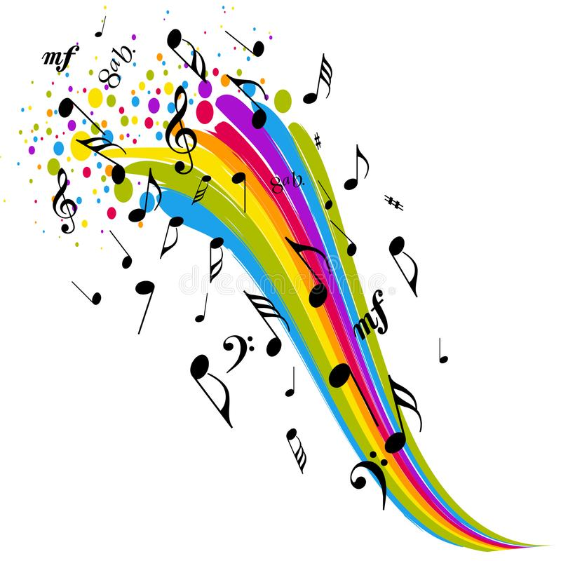 Music sign rainbow color notes vector illustration