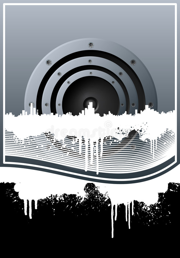 Music skyline grunge lined background stock illustration