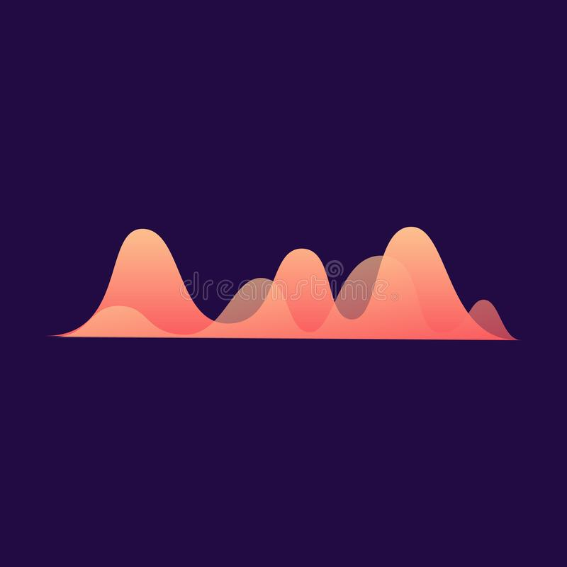 Music sound amplitude wave or line in neon colors vector illustration isolated. royalty free illustration
