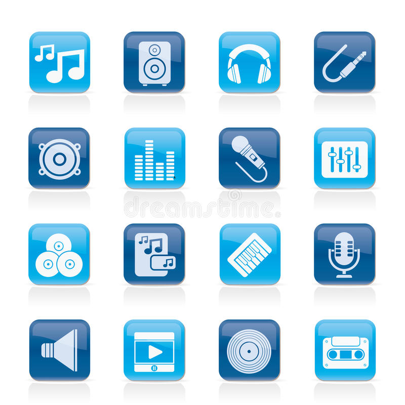 Music, sound and audio icons. Vector icon set vector illustration