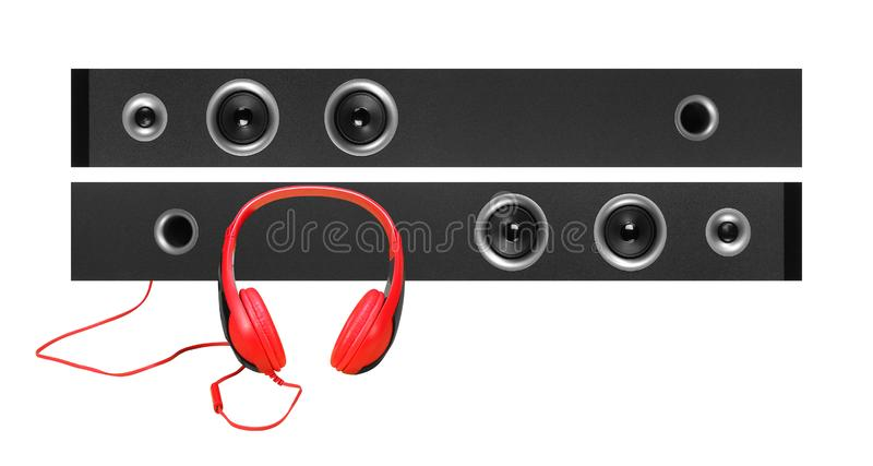 Front view high two line array tower bluetooth loudspeaker enclosure cabinet and headphone isolated on a white royalty free stock photography