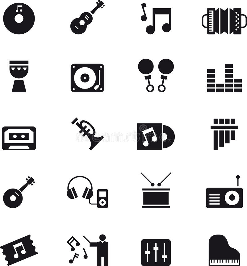 Music and sound icon set royalty free illustration