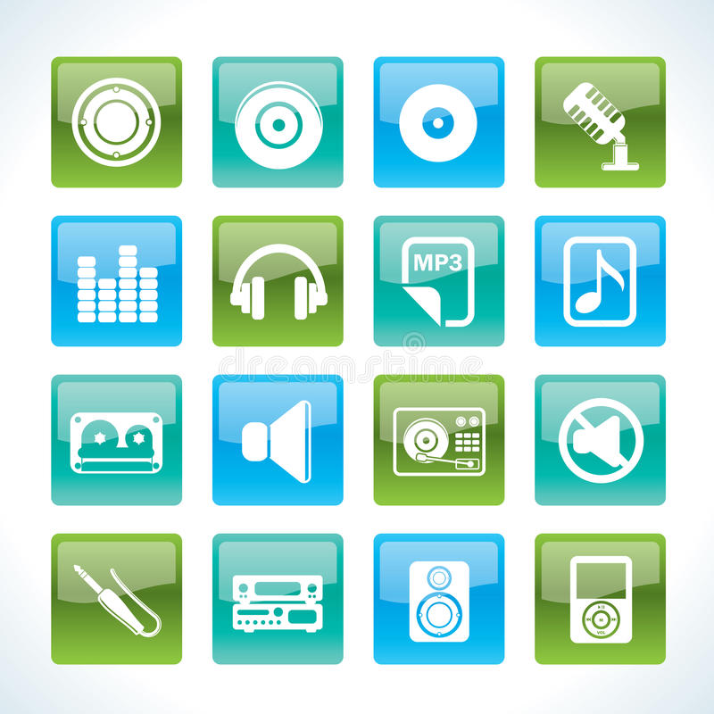 Download Music and sound Icons stock vector. Image of equalizer - 18032339