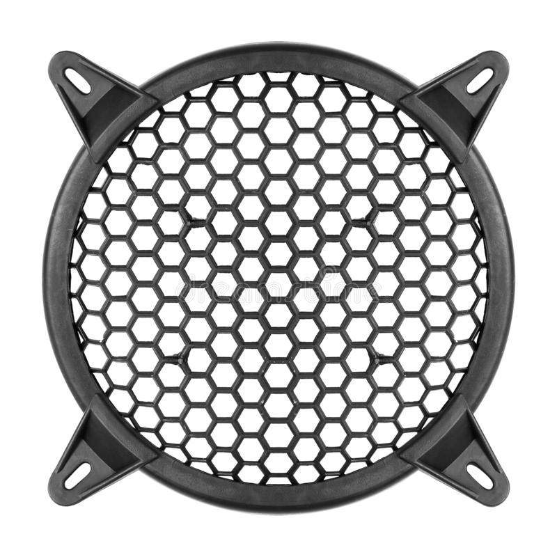 Music and sound - Speaker grill cover decorative circle plastic mesh isolated. On a white backgrounf royalty free stock images
