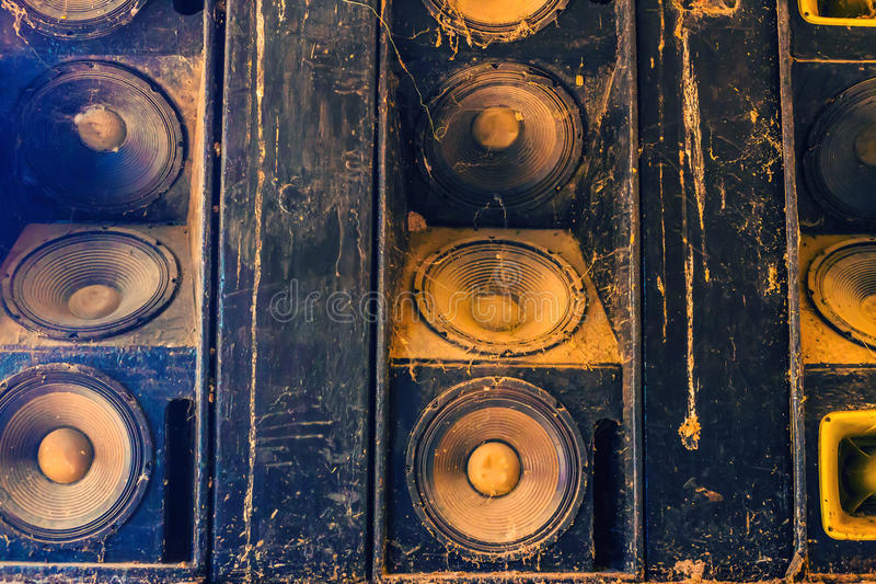 Music sound speakers hanging on the wall in monochrome vintage style. In thai royalty free stock images