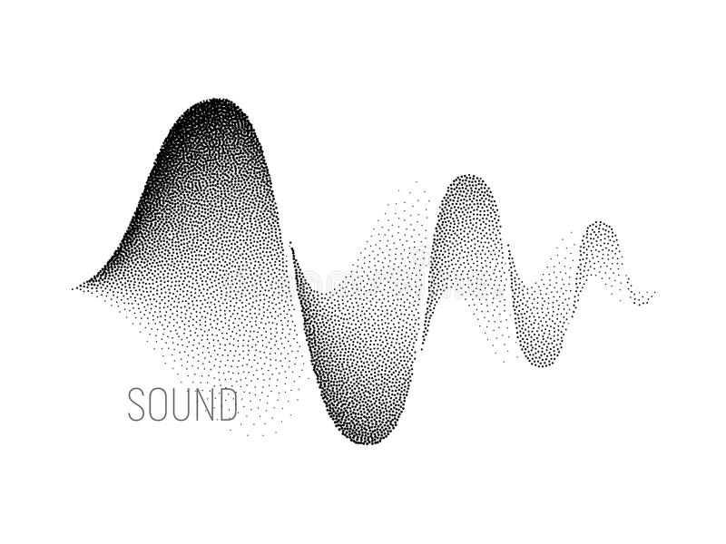 Music sound waves. Halftone vector. Music sound waves on white background. Halftone vector. RGB Global color royalty free illustration