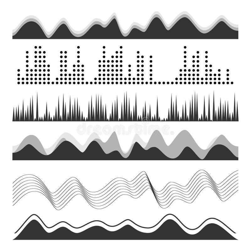 Music Sound Waves Pulse Abstract Vector. Digital Frequency Track Equalizer Illustration stock illustration
