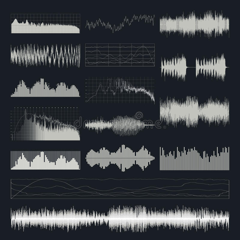 Music sound waves vector set isolated on a dark background. royalty free illustration