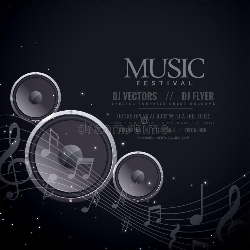 Music speakers black poster design royalty free illustration