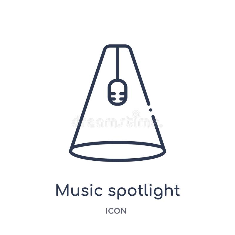 Music spotlight icon from music outline collection. Thin line music spotlight icon isolated on white background stock illustration
