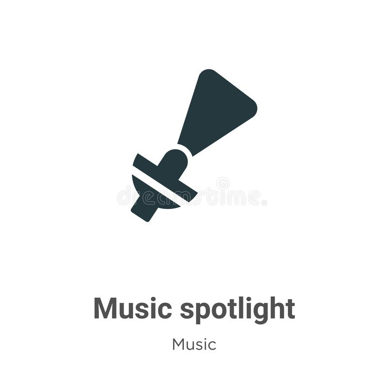 Music spotlight vector icon on white background. Flat vector music spotlight icon symbol sign from modern music collection for royalty free illustration