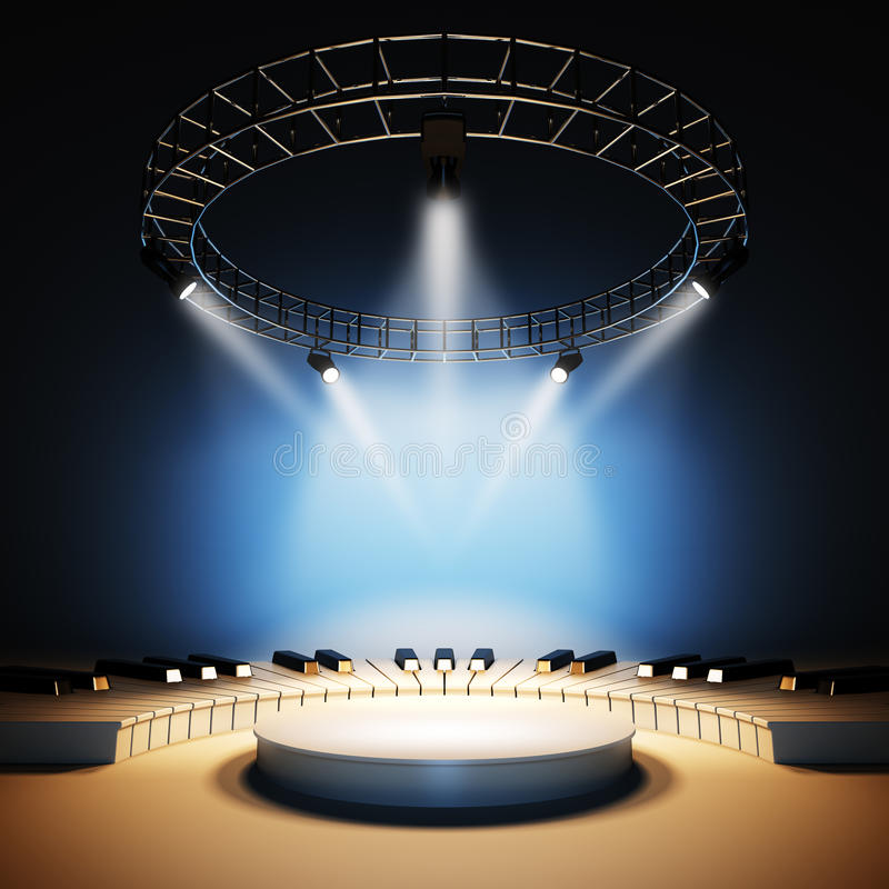 Free Music Stage Illuminated By Spotlights. Royalty Free Stock Image - 84058806