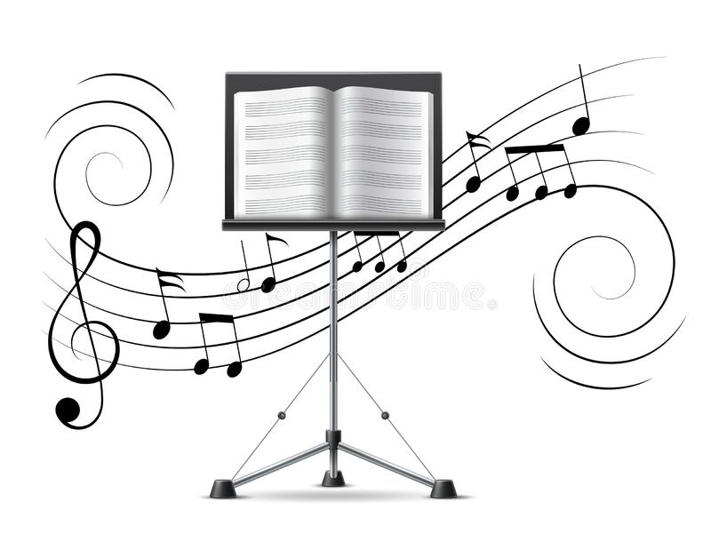 Vector music notes treble clef flow on music staff. Music stand with musicbook on background of music notes, treble clef, music staff in swirl motion flow stock illustration