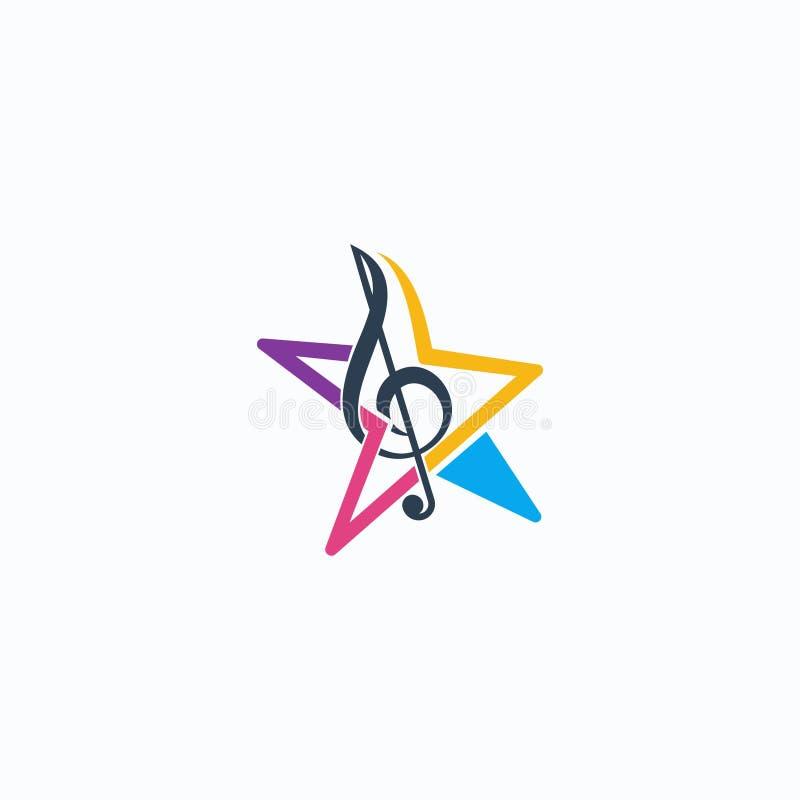 Music Stars. Logo design original concept vector illustration