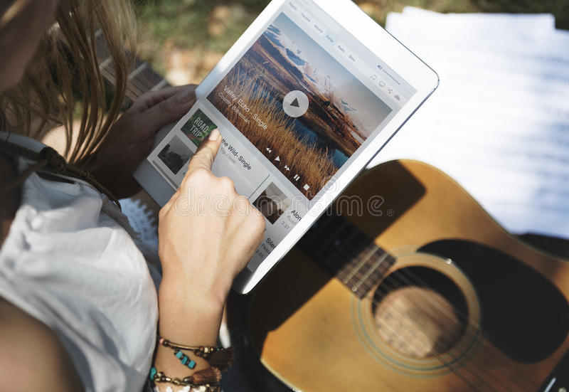Music Steaming Multimedia Listening Digital Tablet Technology Co royalty free stock photography