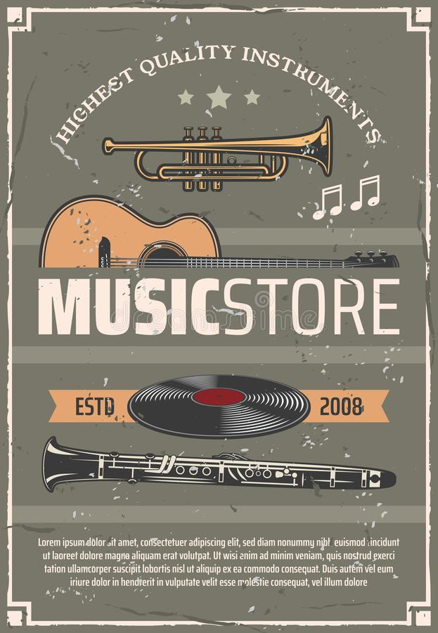 Musical instruments, music store vector poster. Music store retro vector poster, musical wind and string instruments, old vinyl discs. Trumpet and acoustic vector illustration