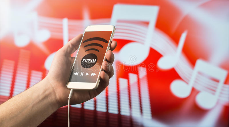 Music streaming with smartphone stock photo