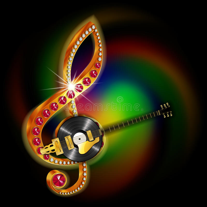 Music string jazz guitar and vinyl records. Bright glowing musical string jazz guitar and vinyl records, treble clef with precious stones. Image executed with a vector illustration