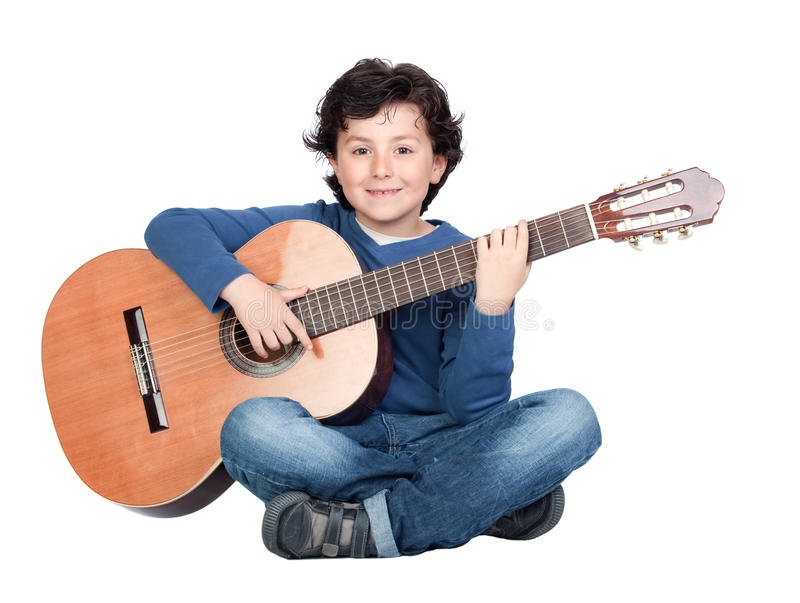 Music student playing the guitar royalty free stock photos