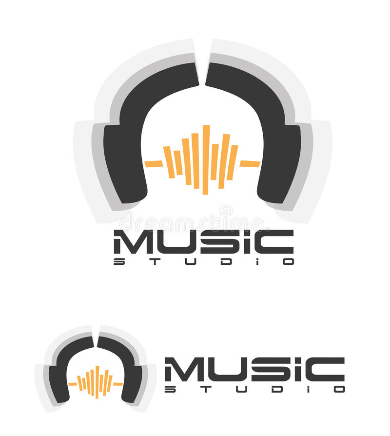 Music headphones logo. Vector logo template depicting headphones and a sound wave