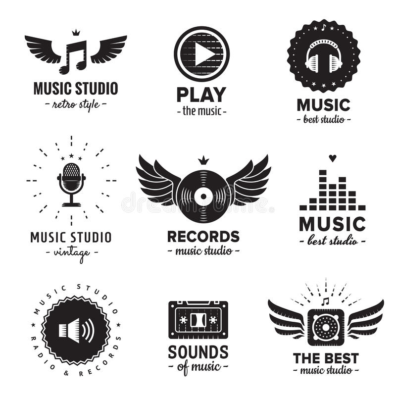 Music studio and radio logos vintage vector set. Hipster and retro style. royalty free stock images