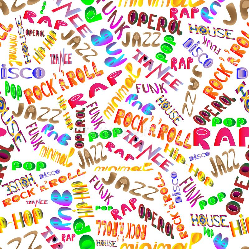 Music styles and genres on a white background. Seamless pattern of musical titles. stock illustration