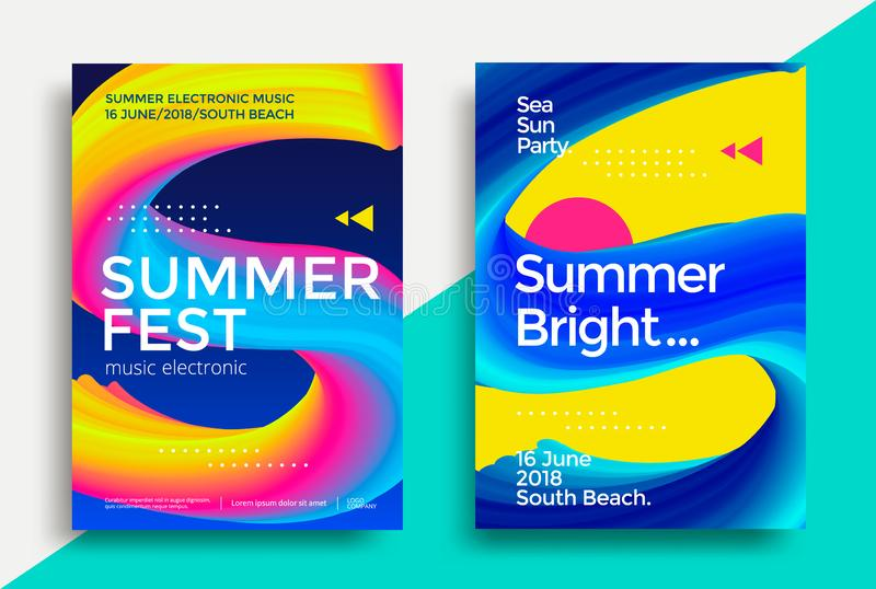 Music summer fest poster. Summer festival electronic music poster. Club night party flyer. S letter with abstract gradients vector illustration