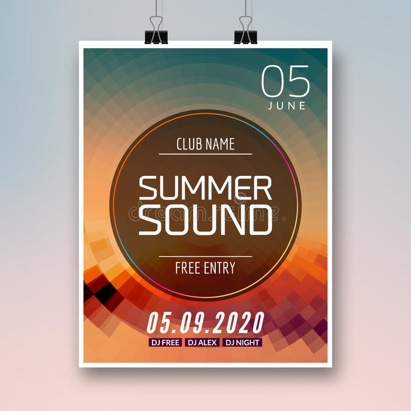 Music summer party poster graphic design. Disco dance flyer or poster template. Summer sound party event.  vector illustration