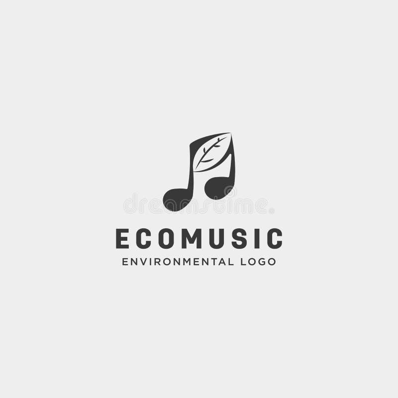 Music symbol leaf nature simple logo template vector illustration icon element. Vector stock illustration