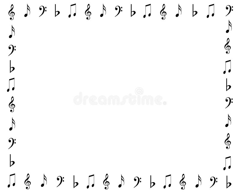 Music symbols border stock illustration. Image of frame