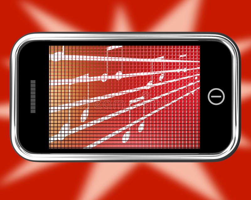 Music Symbols On Mobile Phone Shows Online Radio Stock Illustration