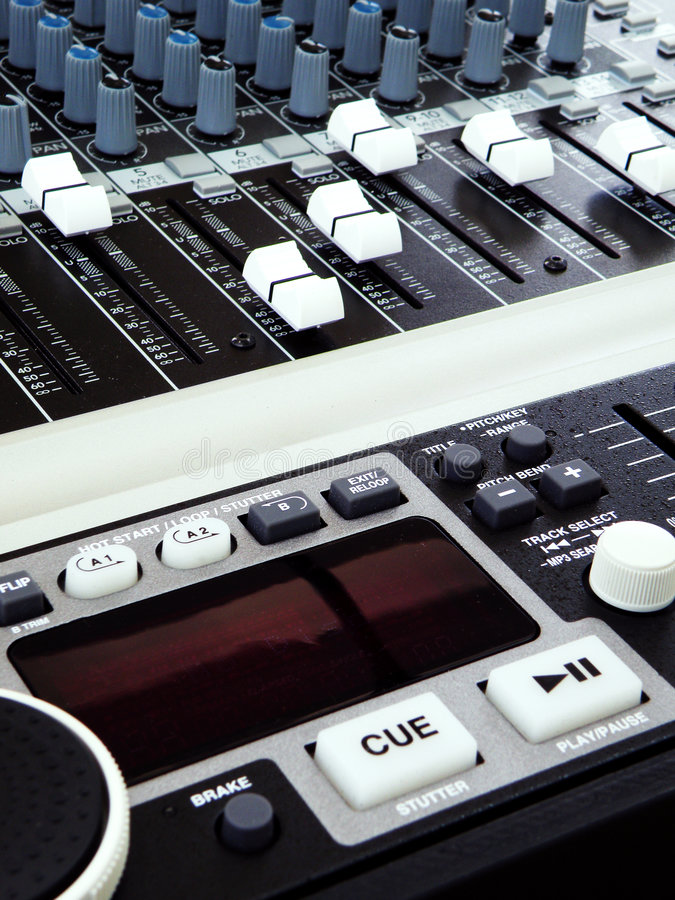 Music technology - equalizers & mixers. Mixing consoles for Audiophile! -Details of a mixer and graphic equalisers used in live music, audio engineering on an AV royalty free stock image