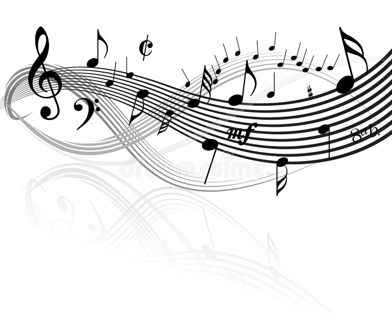 Music theme. Black and white Music theme stock illustration