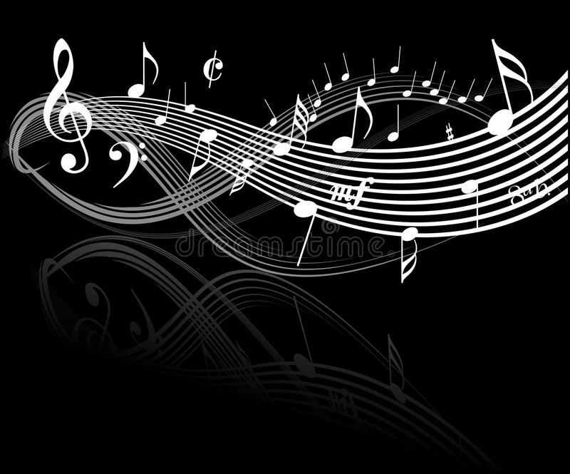 Music theme. White notes on black background stock illustration