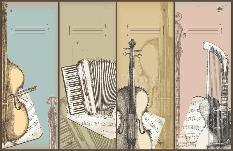 Music theme banners - instruments drawing. Bass, accordion, violin, harp-guitar vector illustration