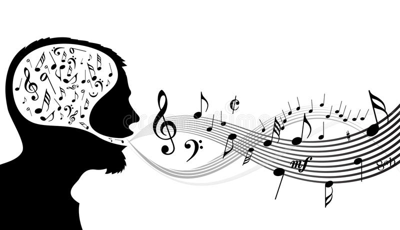 music theme head of the singer stock vector. Black Bedroom Furniture Sets. Home Design Ideas