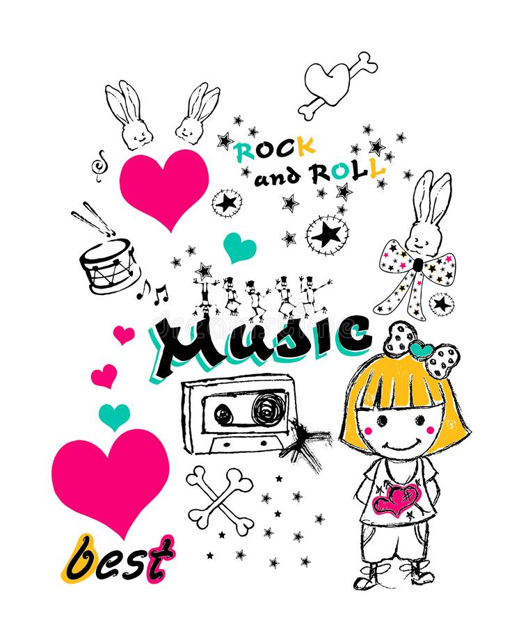 music themed graphic, tee shirt  print stock illustration