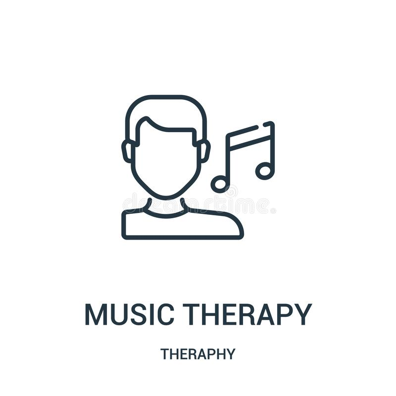 music therapy icon vector from theraphy collection. Thin line music therapy outline icon vector illustration royalty free illustration