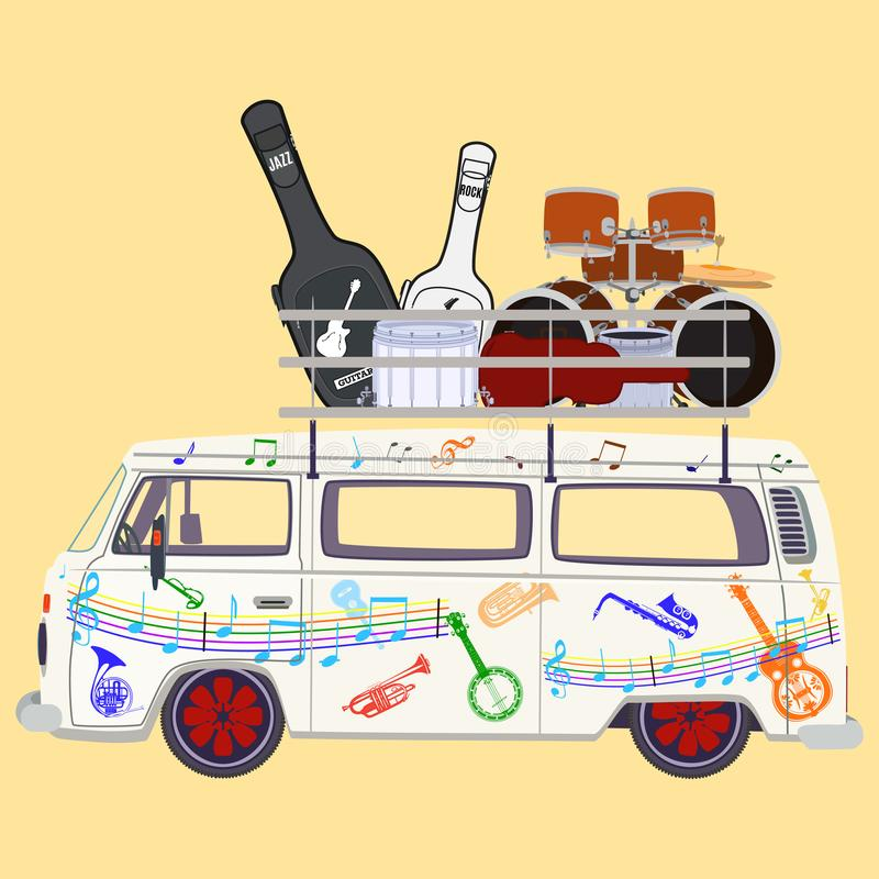 Free Music Tour Bus Vector Flat Illustration Stock Photos - 102029273