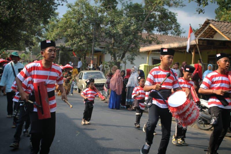 Music traditional from Indonesian. Karnaval budaya HUT RI 73 stock photo