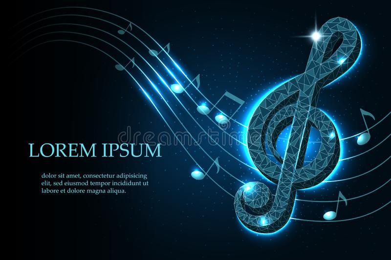 Music treble clef and notes in swirl on a dark blue starry sky background in polygonal style, mockup layout for design, vector ill vector illustration