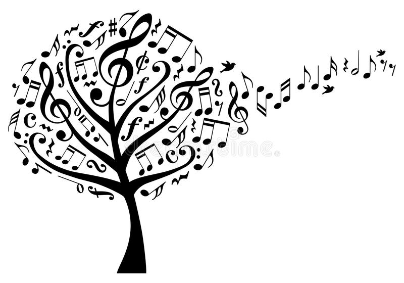 Music tree with notes, vector. Music tree with treble clefs and flying musical notes, vector illustration