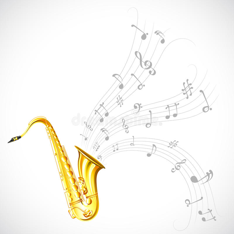 Music Tune from Saxophone. Illustration of wavy music tune from saxophone stock illustration