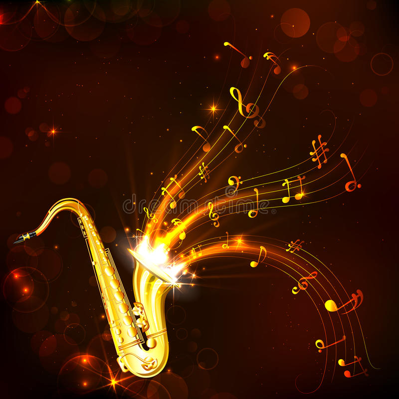 Music Tune from Saxophone. Illustration of wavy music tune from saxophone royalty free illustration