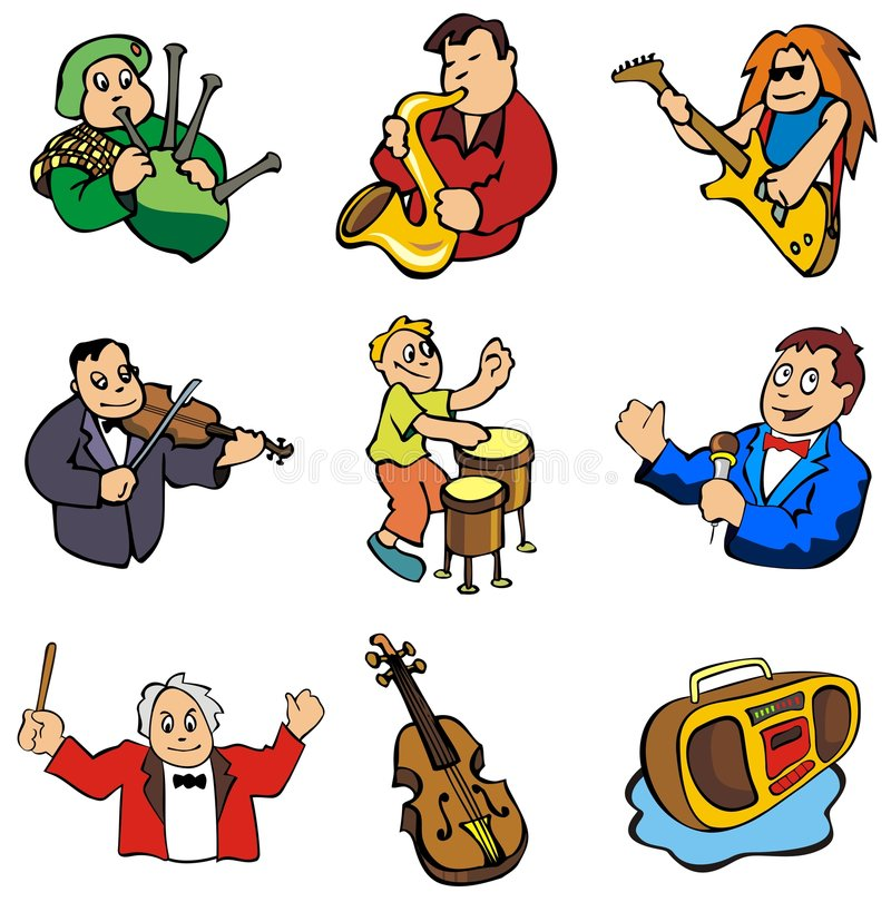 Music in vector. Set of musicians and music related objects, cartoon style, vector illustration vector illustration