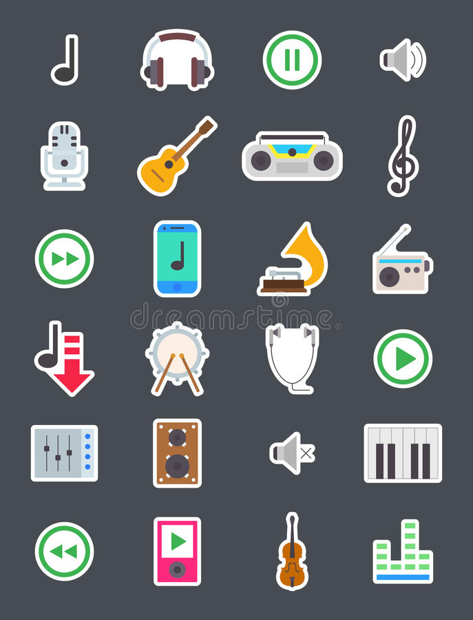 Music vector icons set royalty free illustration