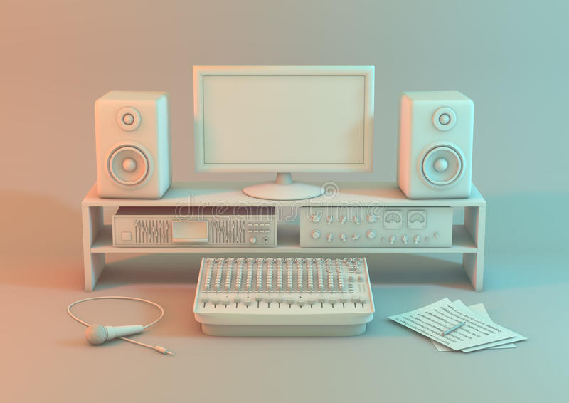 Music video workstation on a white background. A studio set up for sound recording with monitor equipment, input devices and a mic. 3d model of a music video stock illustration