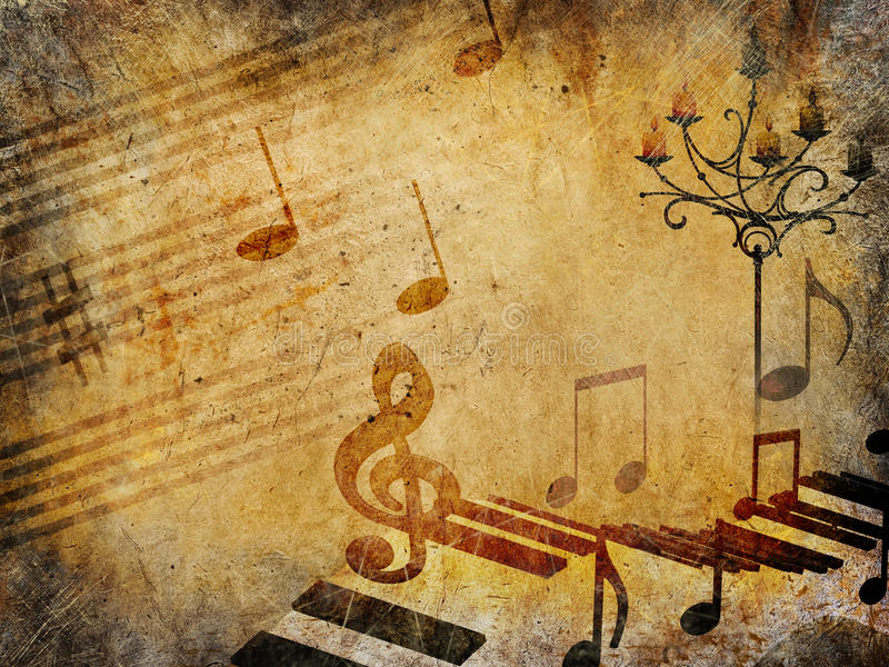 Music vintage background, grunge style royalty free illustration