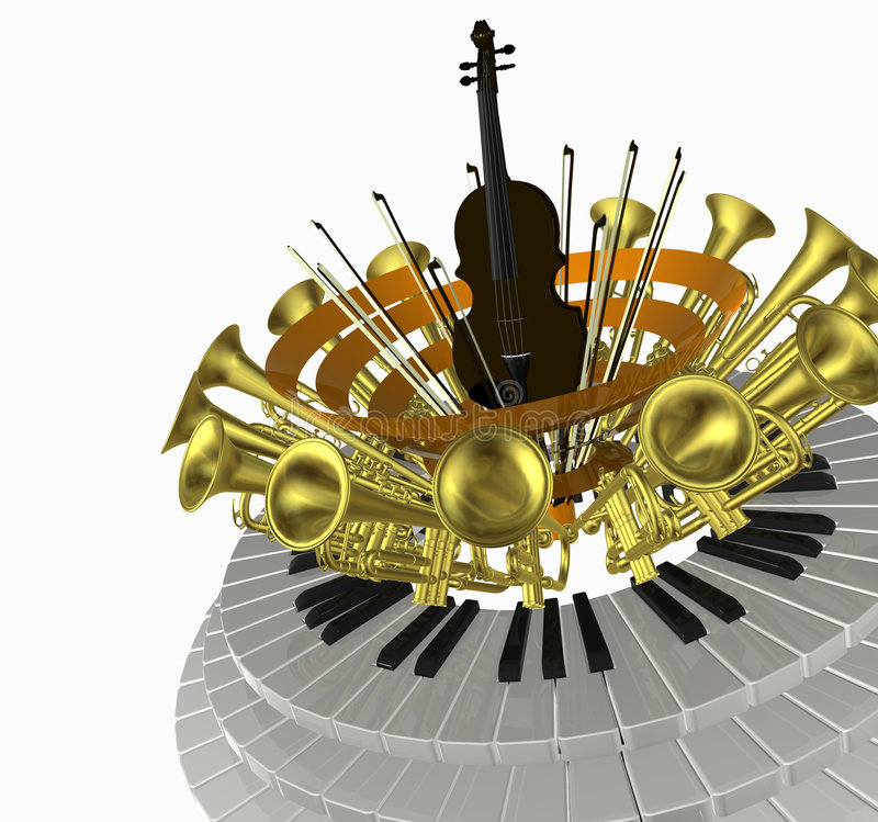 Music violin one. 3D illustration with music objects stock illustration