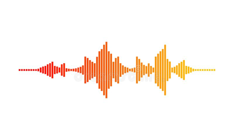 Music wave. Digital waveform. Sound frequencies. Gradient with red, orange and yellow colors. Vector design vector illustration